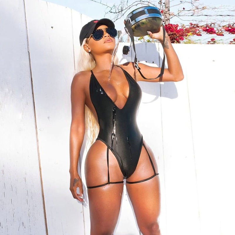 Women Swimwear Solid One-Piece Suits Sexy High Cut One Piece Swimsuit Backless Swim Suit Thong Bathing Suit Female Monokini
