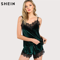SHEIN Sleepwear Pajamas For Women Green Spaghetti Strap Contrast Lace Trim Velvet Cami Top And Shorts