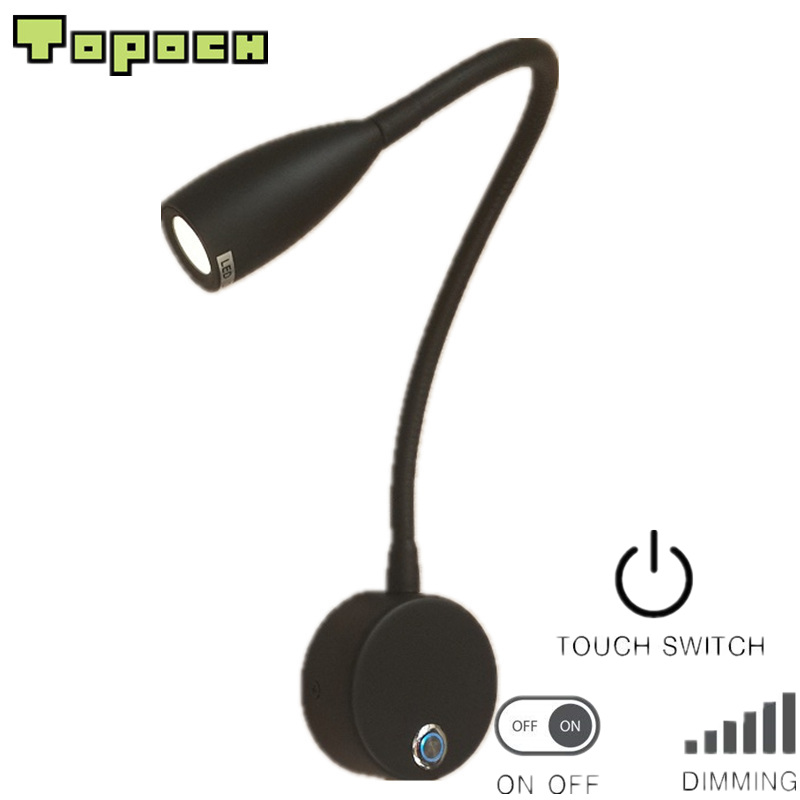 Topoch Bedside Wall Lamps Dimming Reading Light Touch On/off/Dimmer Switch Wall Surface Mount 100-240V 12V For Home RV/Boat