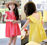 3 8 Years 2015 Summer Soft Girl Dress Temperament Kids Sundress Children Beach Dress Fashion Sweet
