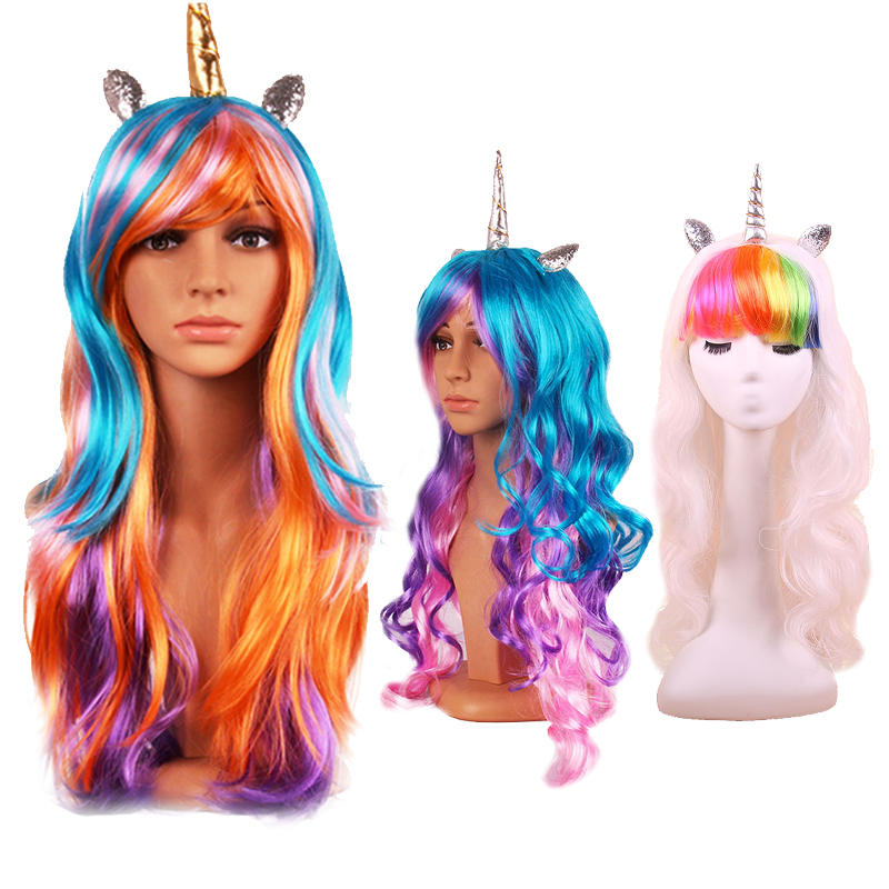 Halloween Christmas Decoration Colorful Long Curly Wig Masquerade Anime Cosplay Rainbow  ...