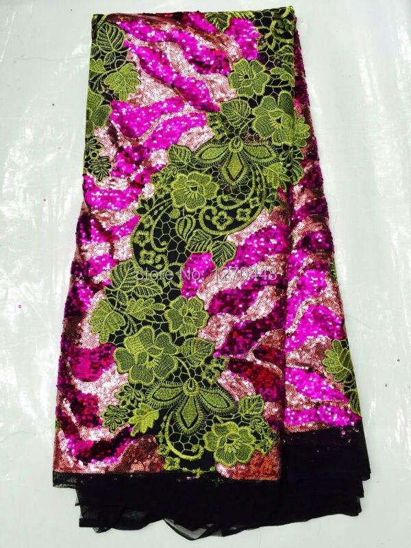 Новое поступление красивые французский Блёстки кружевной ткани витой Блёстки модные яркие Африканский кружевной ткани