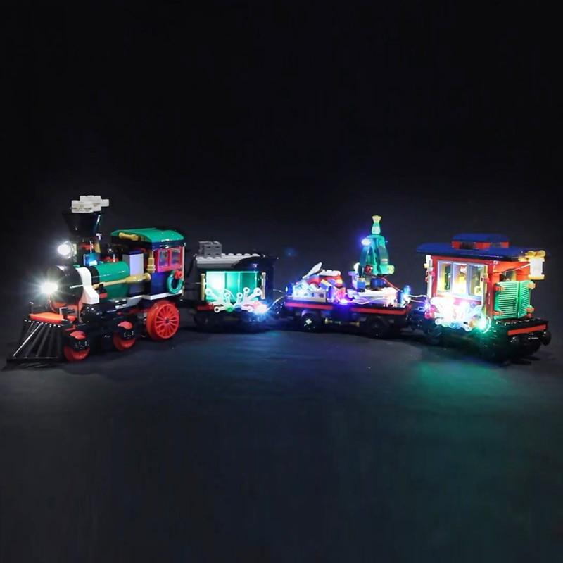 Led Light For Lego 10254 Creator City Christmas Winter Holiday Train Compatible 36001 Building Blocks (only light+Battery box) creator the christmas winter holiday city rail train set childrenn model building blocks kitsbricks christmas gifts 10254
