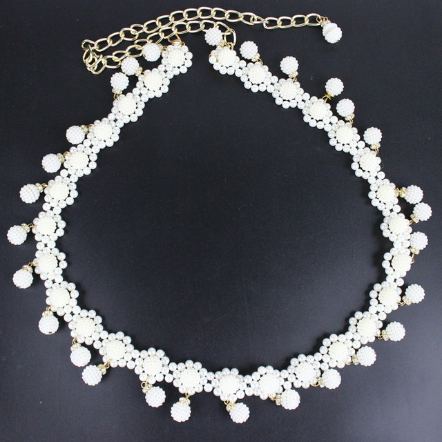 2016 Fashion White Pearls Wedding Bridal Sash Belt Evening Dress Sash Prom Sash Wedding Sash Belt Wedding Accessories