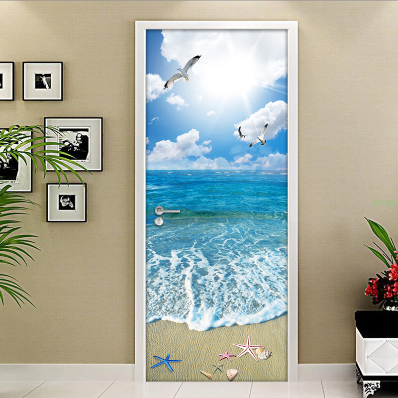 3D Door Wallpaper Blue Sky White Clouds Beach Mural Livingroom Bedroom Door Sticker PVC Self-Adhesive Waterproof Vinyl Wallpaper blue sky white clouds beach coconut tree backdrops fotografia fundo fotografico natal background photograph