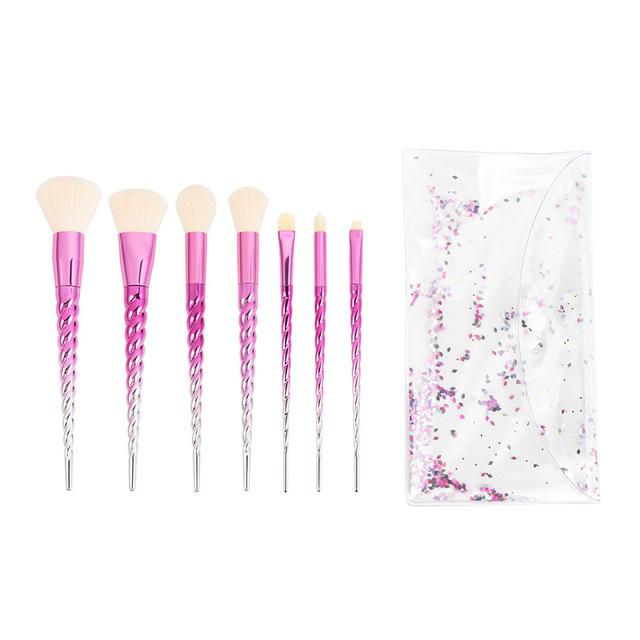 7 Piece Chrome Pink Unicorn Makeup Brush Set