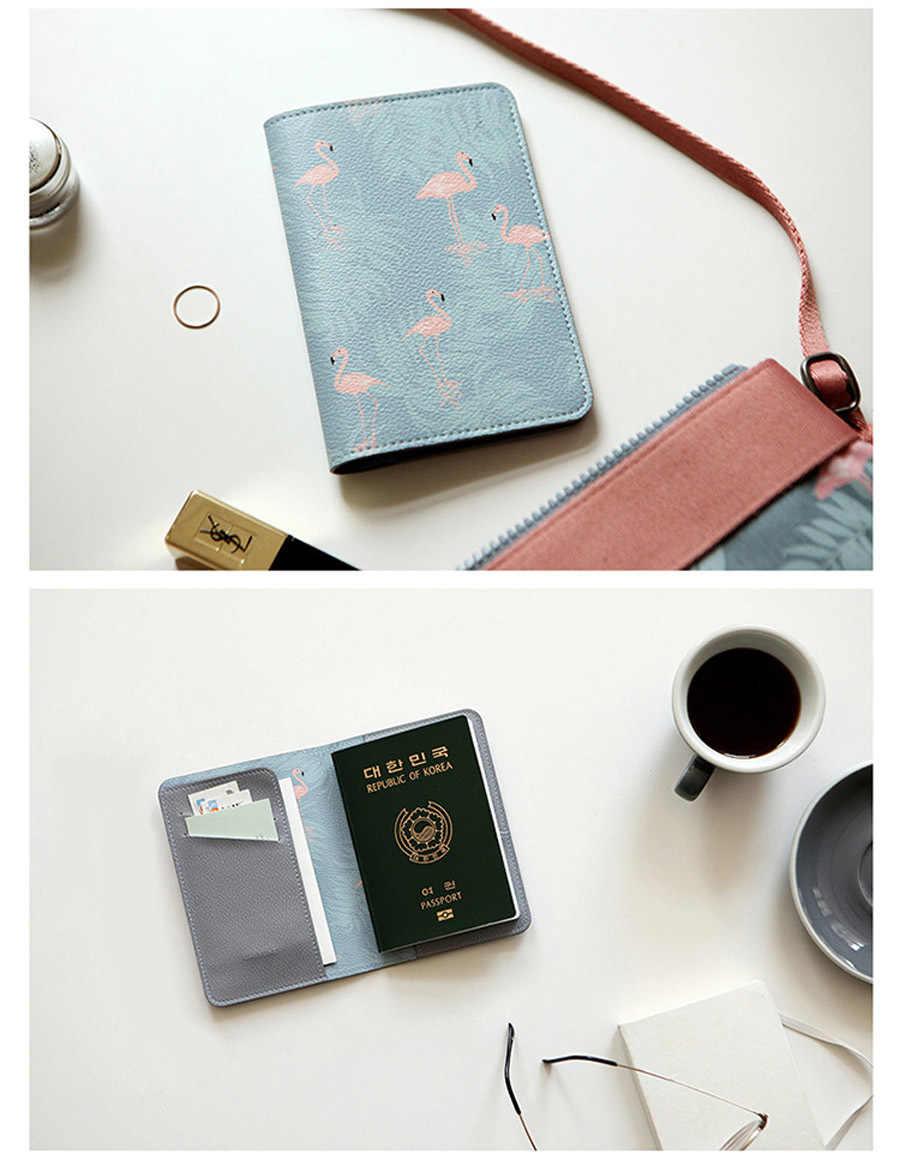 Kobiety skórzana okładka na paszport Cartoon ID pojemnik na kartę bankową M śliczne etui na paszport Flamingo Travel Passbook Girls kopertówka