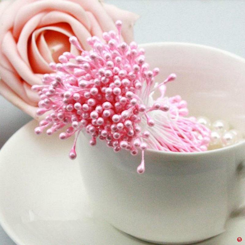 500 шт./лот многоцветный DIY жемчужина цветок тычинки двойной головок тычинки перламутровые Craft пирожки Цветочный декор Свадебная вечеринка украшения 8z