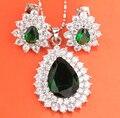 Cara de la Venta Caliente! pera Verde Piedras Joyería Conjuntos Pendientes Colgante Anillo de Plata Para Las Mujeres S8061
