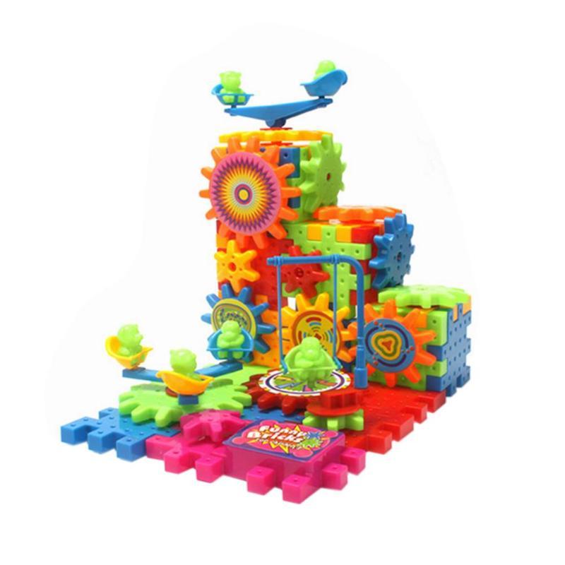 Plástico montado bloques de construcción ladrillos patrón cambiante niños eléctrica rotativa juguete ciencia educación