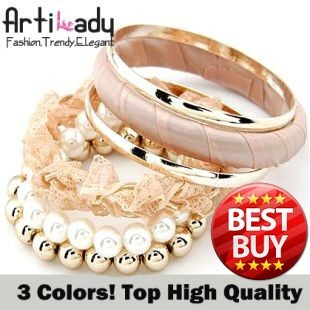 3colors Artilady new pink simulated pearl bangle set bracelets fashion jewelry for lady top quality