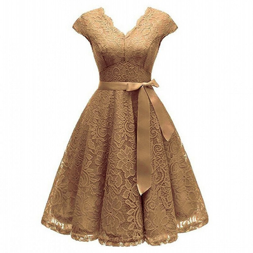 Aovica V-Neck Lace Knee-Length Women Dresses With Short Sleeves Dress For Women Female Vestidos New Arrival Chic Cheapest Price