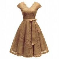 Aovica v-образным вырезом кружева длиной до колена женские платья с коротким рукавом платье для женщин женские Vestidos Новое поступление шикарная...