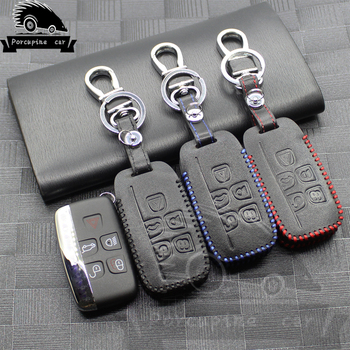 Genuine leather car key case for SPORT Land Rover RANGE ROVER Evoque Freelander 2 found Discovery 2 DISCOVER 5 Button car key image