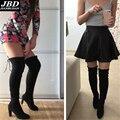 Plus size 35-43 das Mulheres Botas de Camurça Superior Stiletto Calcanhar Overknee Stiletto das Mulheres Superior sapatos de Salto Alto Mulheres Sapatos femininos Preto Cinza