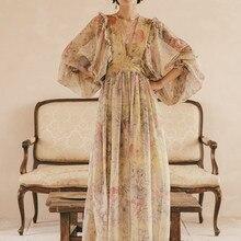 Женское длинное повседневное платье, элегантное винтажное летнее платье макси для отпуска, в богемном стиле, с глубоким треугольным вырезом, откровенное пляжное шифоновое ретро-платье с цветочным принтом