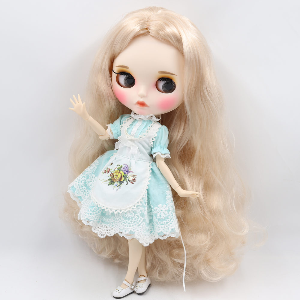 ICY Nude Blyth Doll For No BL3139 Blonde hair Carved lips Matte face with eyebrow customized