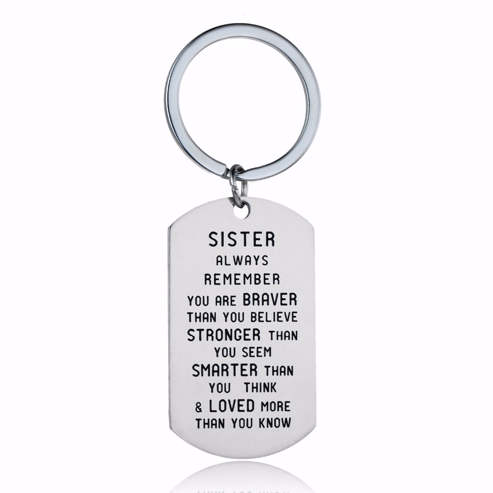 12PC/Lot Women Sis Sister Keychain Gifts Always Remember You Are Braver Stainless Steel Keyring Family Friend Jewelry Key Holder