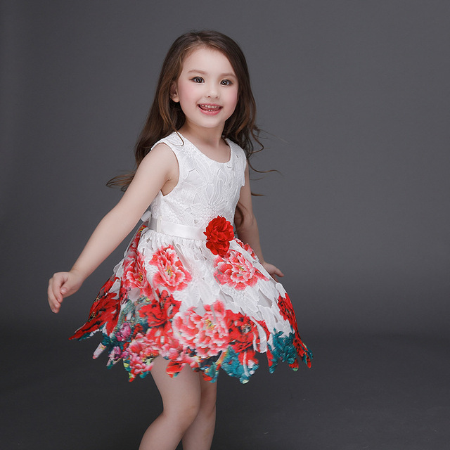 2016 Spring Summer Print Dress Girls Princess Dress Europe dress lace high quality peony flowers fashion belt kids clothes