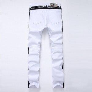 Image 2 - 白人男性のジーンズストレート新ブランドリッピング穴デニムジーンズジッパーサイドブラックストライプ、男性のパンツスリムプラスサイズのズボン