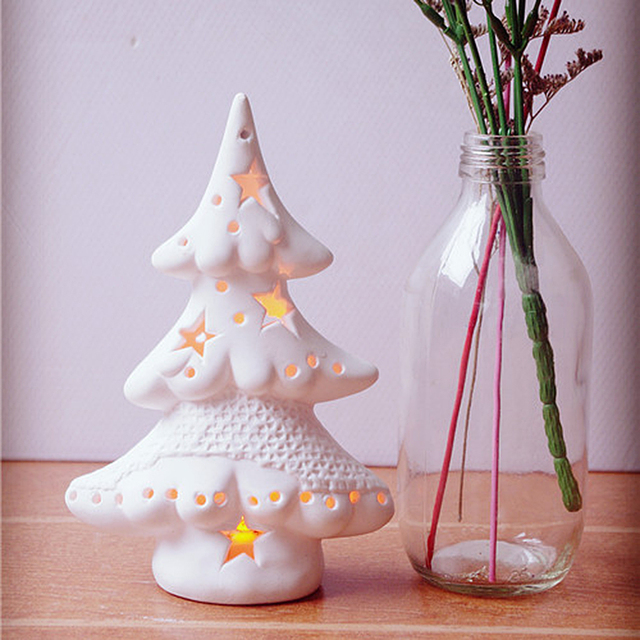 Us 17 3 New Hot Sale Decorative Ceramic Christmas Tree Color Changing Led Light Up Xmas Home Decor Craft Creative Gifts Presents In Figurines
