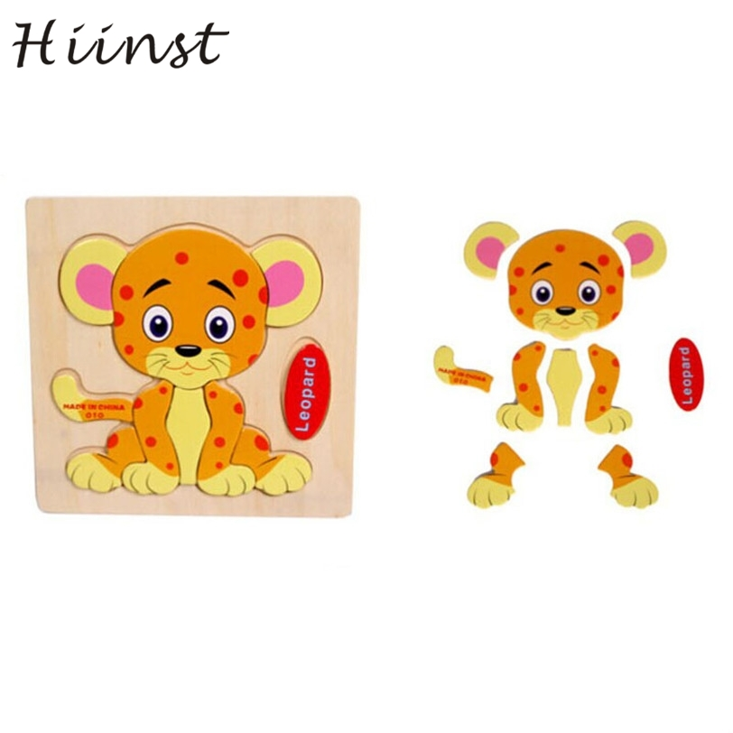 HIINST kids educational toys 2017 Wooden Leopard Puzzle Educational Developmental Kids Training Toy*R Drop