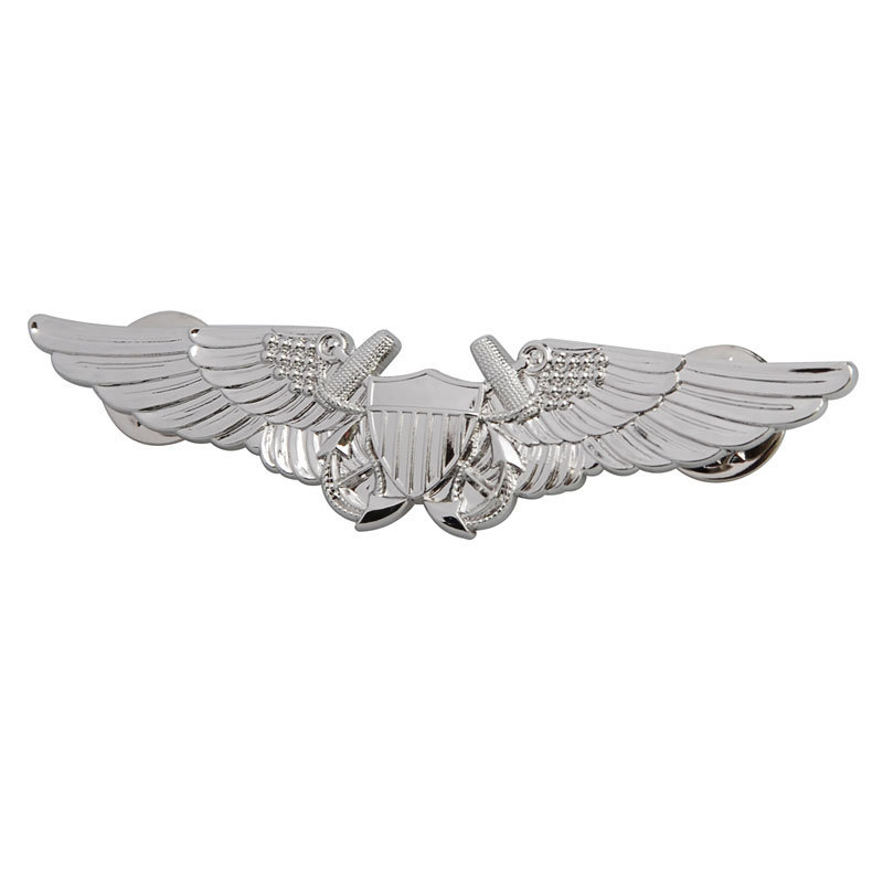 US USMC AVIATION OFFICER PILOT WING BADGE PIN BADGE SILVER-33619