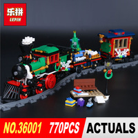 Lepin 36001 Creative Series The Christmas Winter Holiday Train Set 770Pcs Children Building Blocks Bricks Christmas