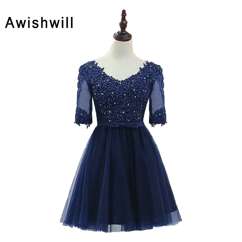 Navy Blue   Cocktail     Dress   With Half Sleeves V Neck Beading Appliques Tulle Lace-up Back Short Party   Dress   Homecoming