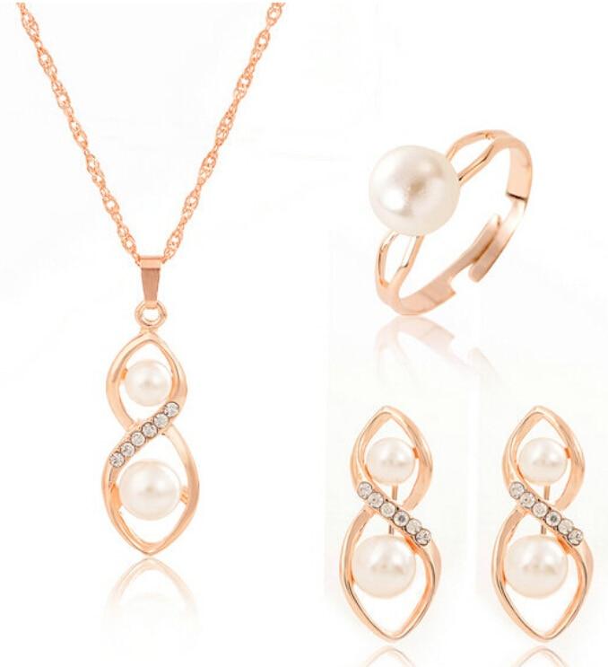 3 Pcs/Set Fashion Jewelry Set For Women Good Luck Luxury Crystal Imitation Pearl Women Jewelry Set Wedding Accessories Wholesale