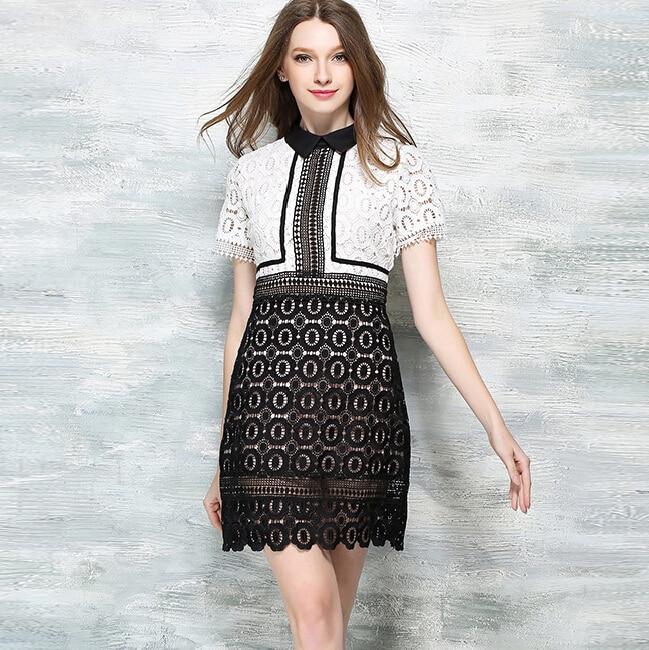 2018 новые летние женские вечерние платья Bodycon Тонкий черный белый с  короткими рукавами кружева шить хит цвет карандаш платье vestidos g429 d84c4d42f4015