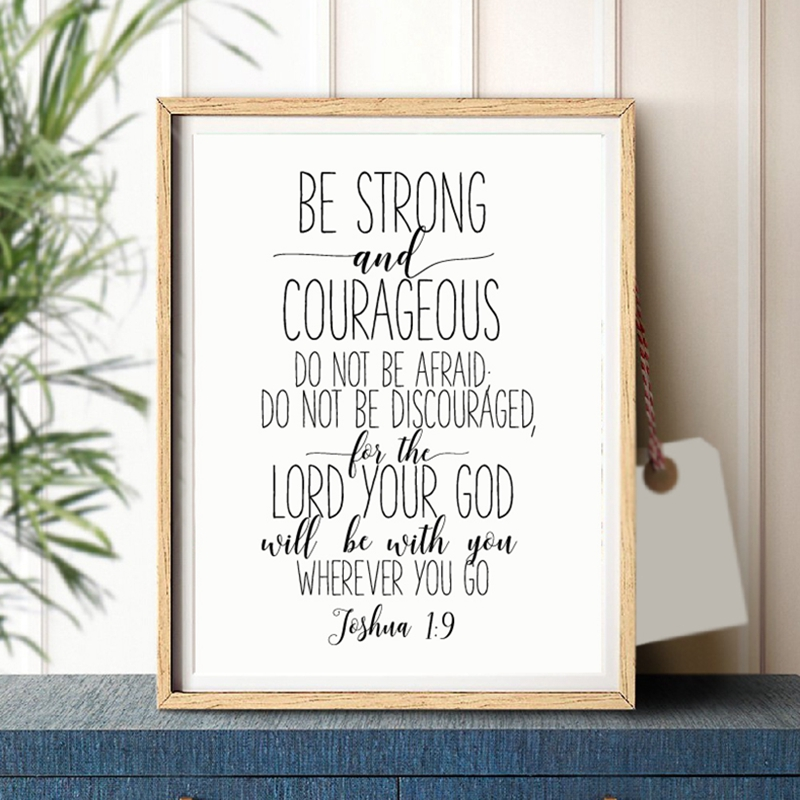 Bible Verse Joshua 1:9 Quotes Art Canvas Painting Picture Christian Nursery Sign Be Strong And Courageous Posters Print Decor