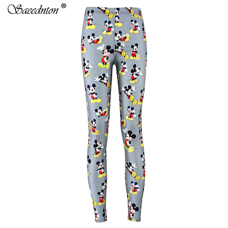 Women Fashion High Elasticity   Leggings   2019 New Female Hip Hop Cartoon Mickey Mouse Print Slim Trousers Casual Pants   Leggings