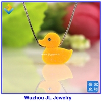 1PC Fashion Top Selling 13*12mm Synthetic Opal Yellow Duck opal jewelry with cz for eye Duck 925 silver box chain Necklace