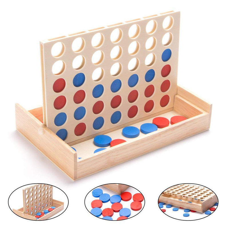 New Line Up 4 Classic Family Board Four In A Row Wooden Bingo Game Toy  Fun Educational Toy For Kids Children Boys Girls Gifts