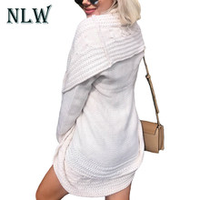 NLW Casual 2019 Autumn Knitted Sweater Women Gray Loose Sweaters Female White Sweater Cardigan Outerwear Winter Grey Jumper(China)