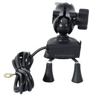 Black X Shape Motorcycle Mobile Phone Holder With USB Charger 12V 24V Universal For MTB Electric