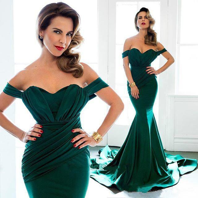 Emerald Green Formal Dress Evening Dresses Long Off Shoulder Chapel Train  Satin Plus Size 2016 Arabic Party Dresses Prom Gowns 79d8da8e09d4