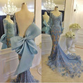 Lindo Mermaid Prom Dress 2017 Manga Comprida Light Blue Lace Backless Real Photo Boat Decote Longos Vestidos de Baile Com Arco