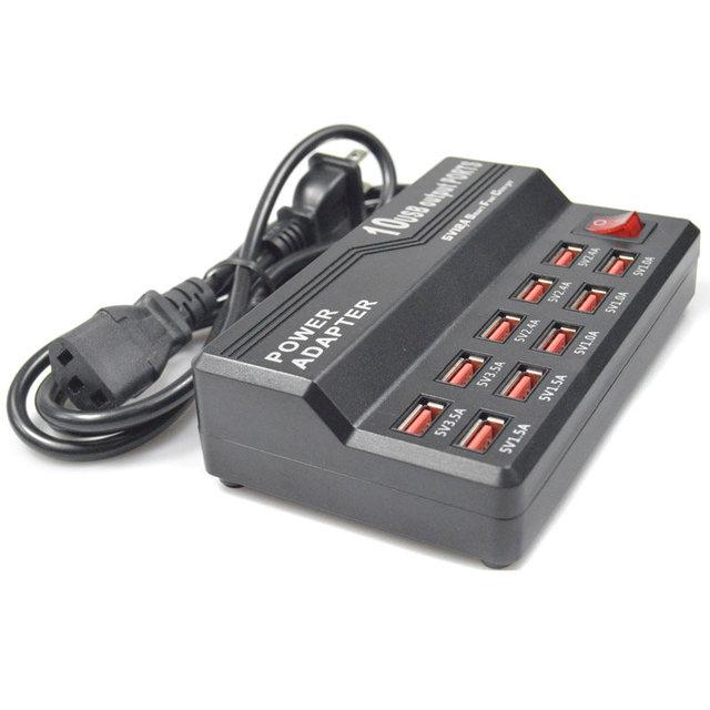 Multipe BrankBass 5V12A 10 Puertos Estación De Carga USB Cargador de Escritorio Rápido para Smart Phone Tablet PC