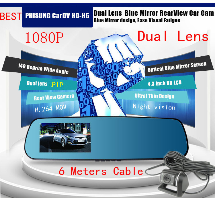 Russian 4.3inch 1080P Dual Lens Car DVR Two Camera Blue Mirror Full HD H.264 140 Angle View Separated Rear camera Gsensor H236