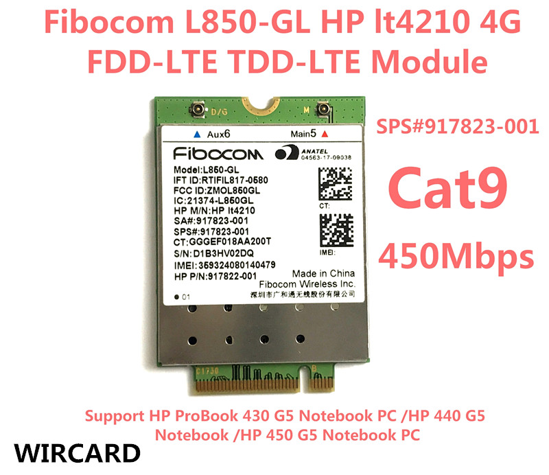 L850-GL LT4210 FDD-LTE TDD-LTE 4G Card 4G Module SPS#917823-001 For hp ProBook 430 440 450 G5 Notebook
