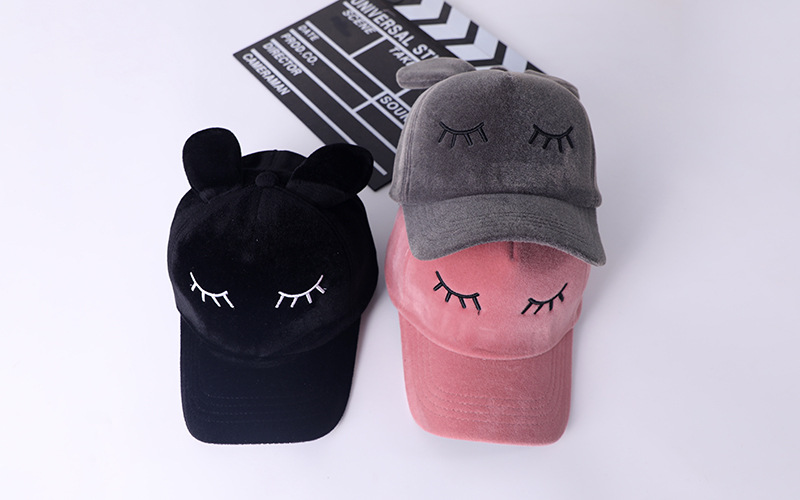 Women Baseball Caps With Ears Autumn Winter Black Velvet Baseball Hats For Girls Casequette Gorras Mujer 170