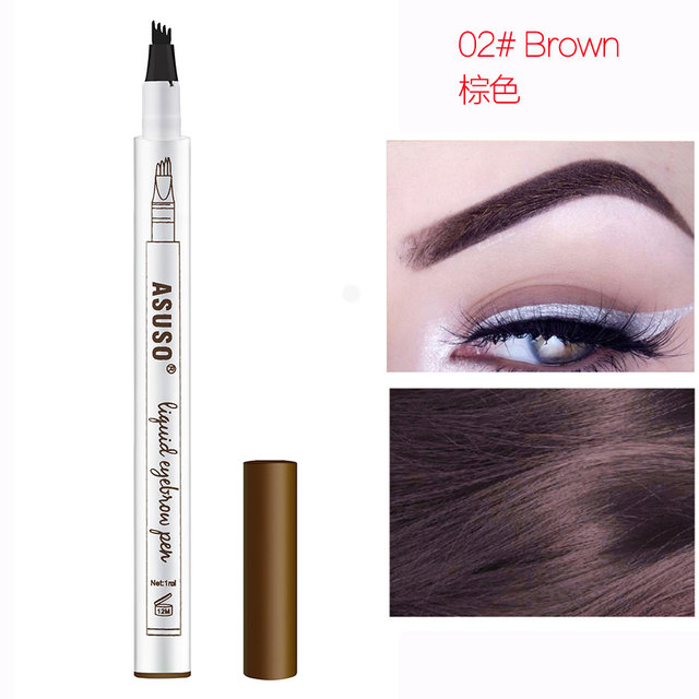 Hot Sale Microblading Eyebrow Tattoo Pen Waterproof Eye Makeup 3 Colors Easy Use Eyebrow Pen Deep Color Pencil Eyebrow 4