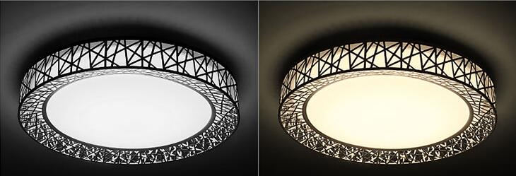 Round Ceiling Light | Circular Ceiling Light | Modern LED Ceiling Lights for Bedroom living room Iron light fixture Home decorative Black/White Round Bird Nest Ceiling Lamp Power 24W