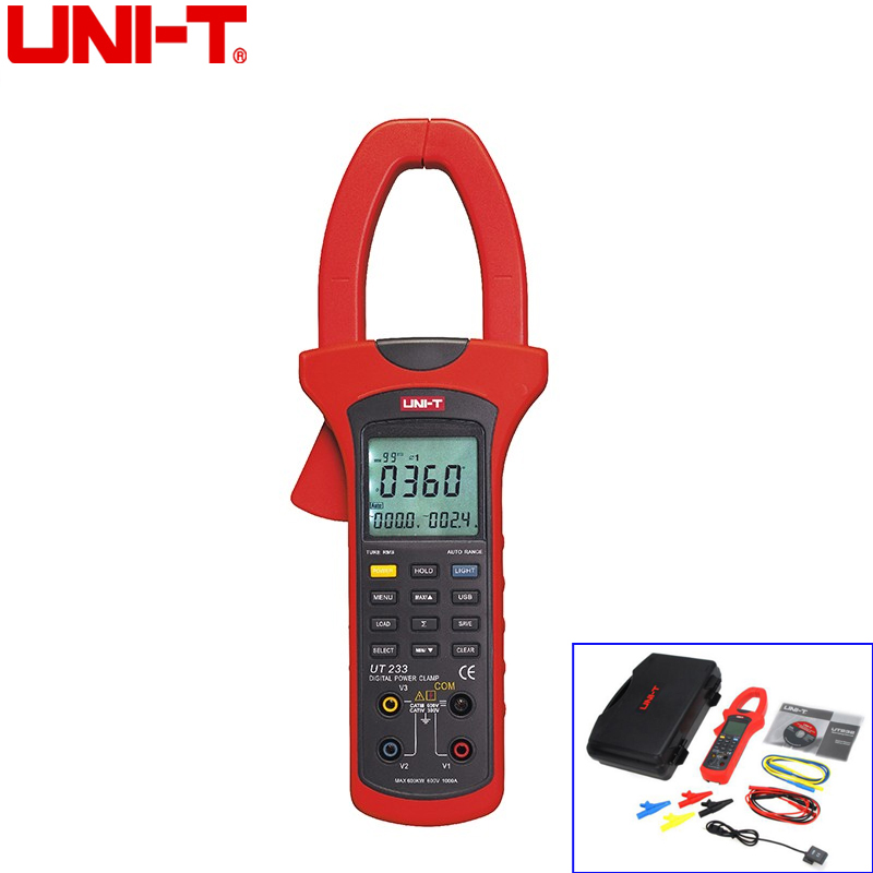 5236d8d5dbe6 UNI-T UT233 9999 Counts Three Phase 600KW Power Clamp Meter True RMS  Digital Clamp Meter Phase Sequence Tester USB Interface