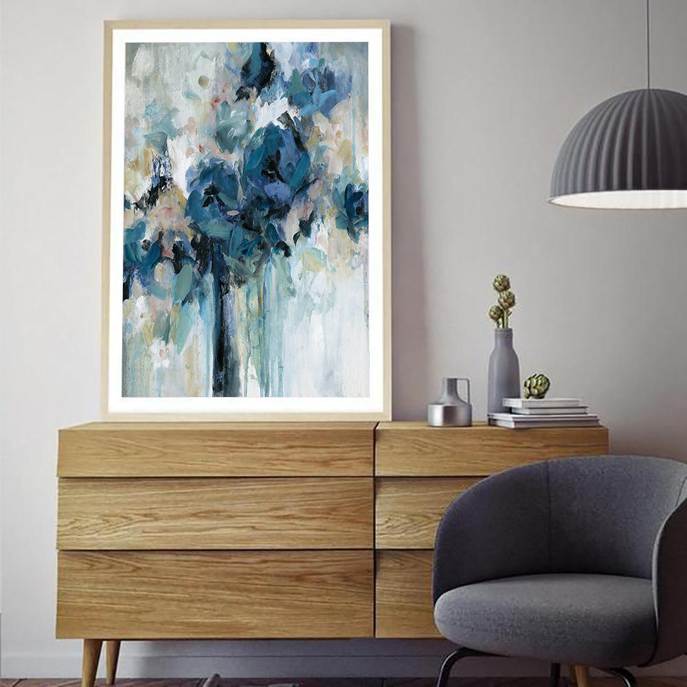 Abstract Art Print Canvas Painting Nordic Blue Skyfall Artwork Poster Watercolor Graffiti Art Wall Picture For Living Room Decor in Painting Calligraphy from Home Garden