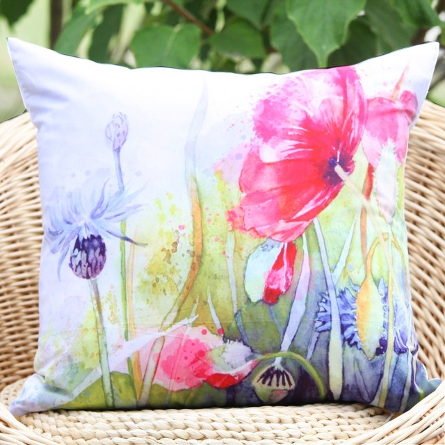 2017 New Poppy Watercolour Pattern Microfiber Decorative Pillow Cover Throw Cushion Home Decor