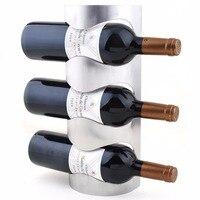 الفولاذ المقاوم للصدأ النبيذ الرف الحديد ديكور الحائط الحائط النبيذ racks-3bottle