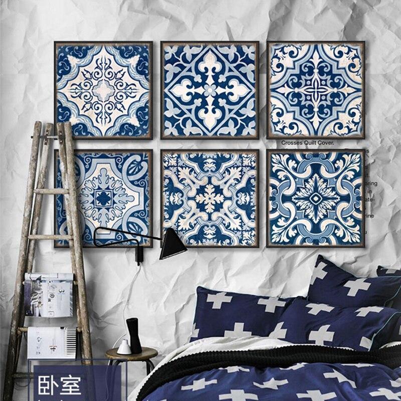 9 Stück Leinwand Kunst Chinesischen Stil Blau Und Weiß Porzellan  Marokkanischen Muster Moderne Poster Druck Leinwand